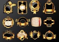 金色欧式花纹标签lable图片