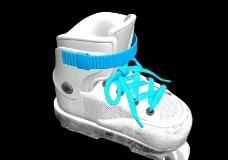 白色旱冰鞋max模型图片